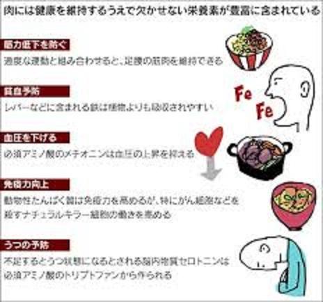 肉には必須栄養素が多く含まれていることを示す図