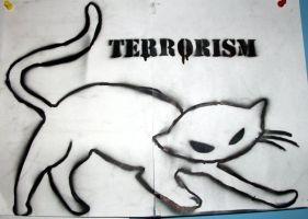 ネコの姿をしたテロリストのイラスト