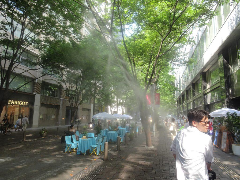 街路樹を結ぶ細いホースからミストが出ている様子