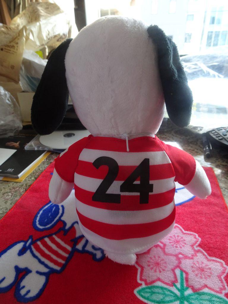 背番号24番が描かれたジャージの背面