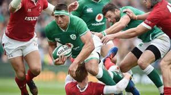圧力をかけるアイルランドの選手