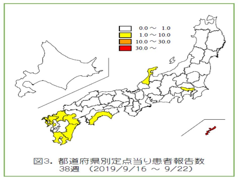 全国で感染者が多い地域を示した地図