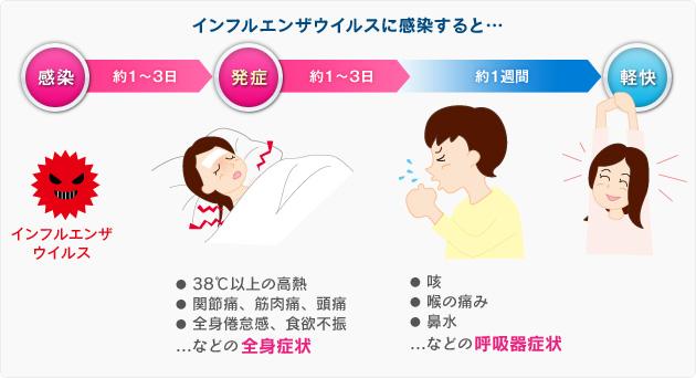 インフルエンザに感染したあとの臨床経過を示す図