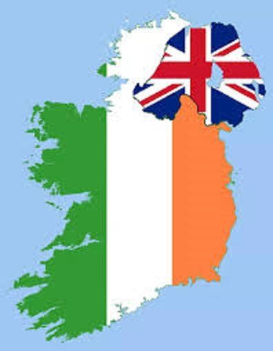 隣り合ったイングランド領北アイルランドとアイルランド共和国の位置関係を示す地図