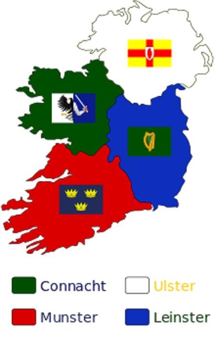 アイルランドの4つの地方とそれぞれの旗