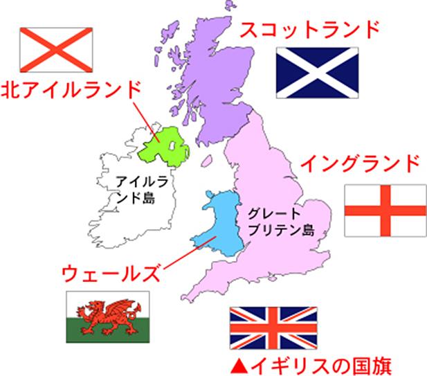 イングランド スコットランド アイルランド ウエールズの位置関係を示す地図
