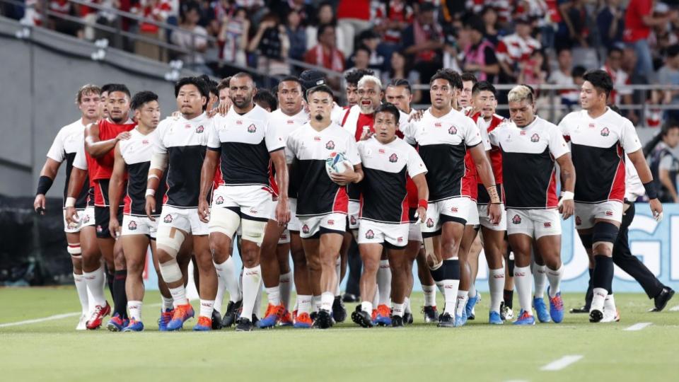 試合前のジャパンの選手たち