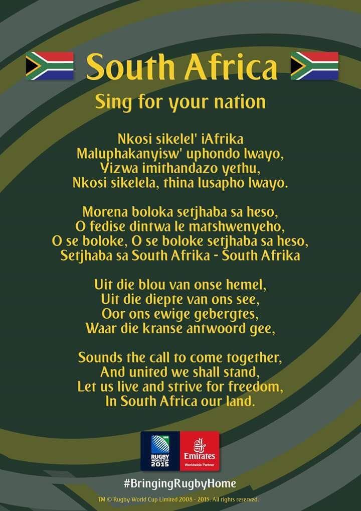 原住民の原語で書かれた南アフリカの国歌の歌詞