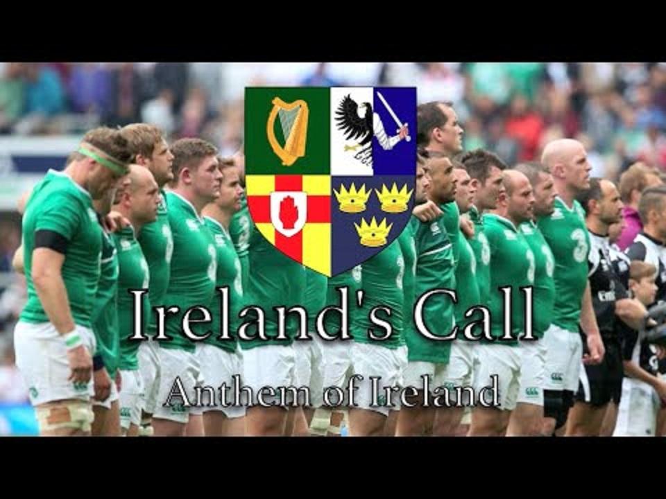 アイルランドコースを歌うアイルランドの選手