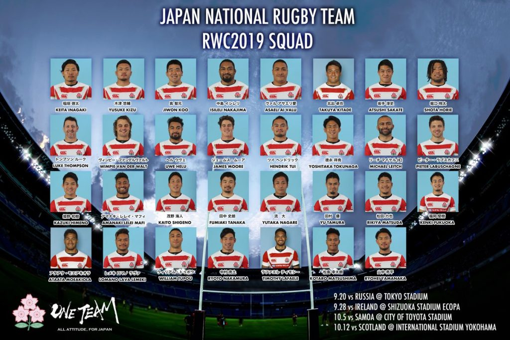 ワールドカップに出場するジャパンの選手たち
