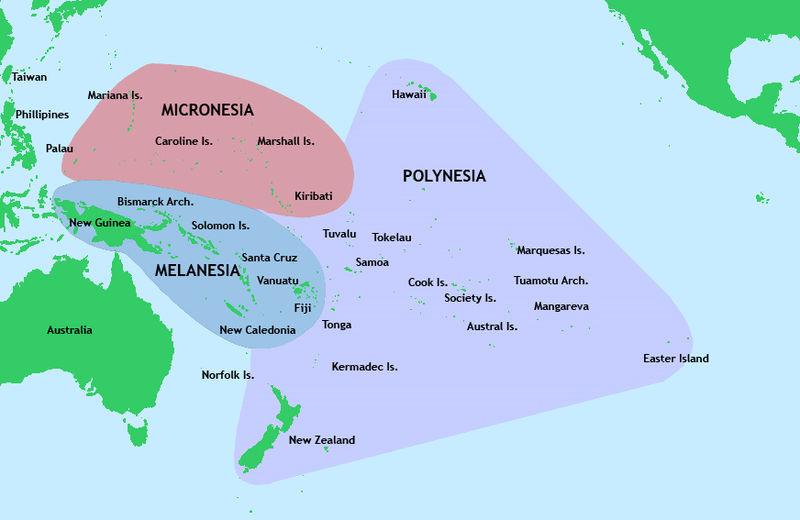 メラネシア ポリネシアの地図