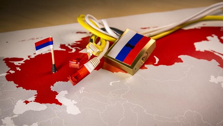 ロシアによる欧米へのインターネット攻撃のイラスト