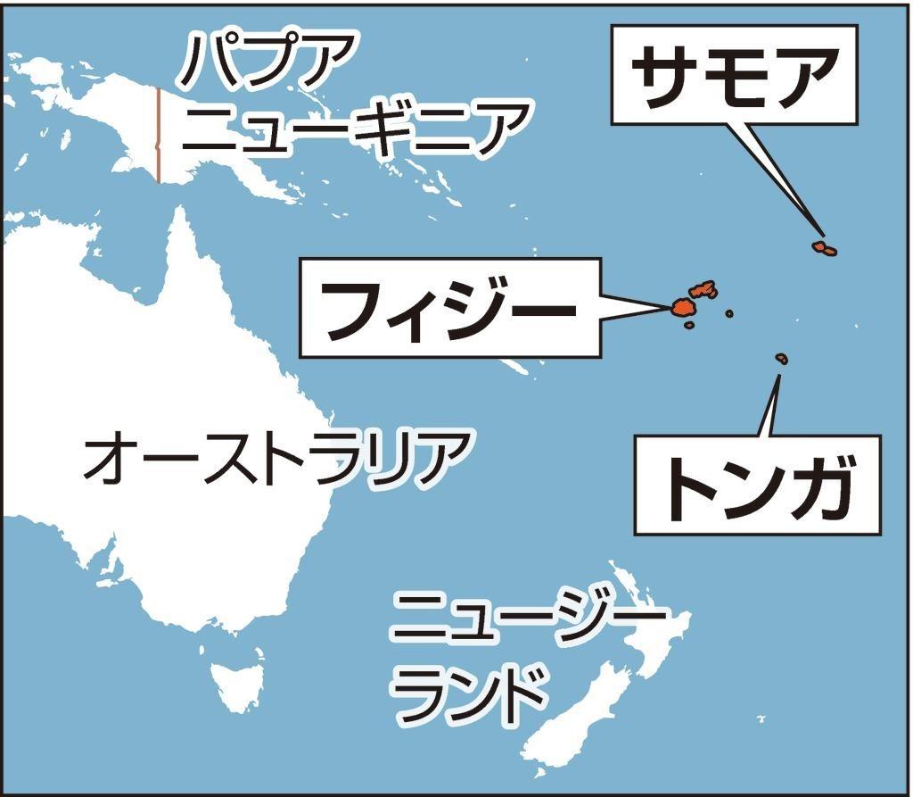 サモアやフィジーの位置を示す地図
