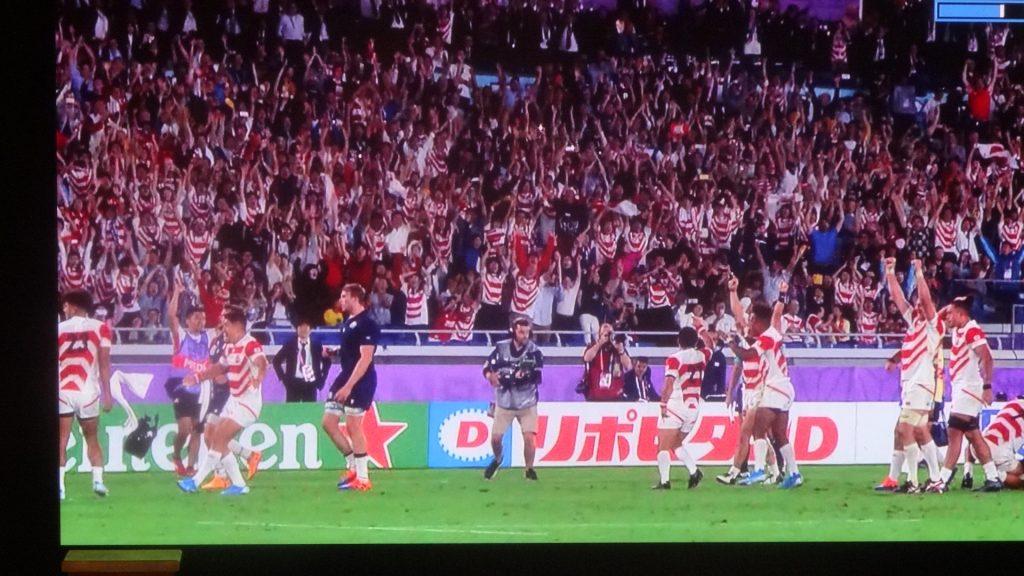 大喜びするジャパンの選手たち