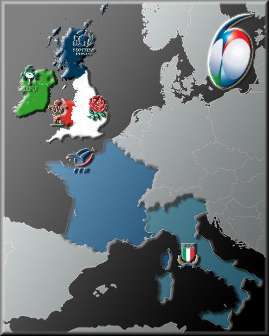 シックス・ネーションズ参加国を示す地図