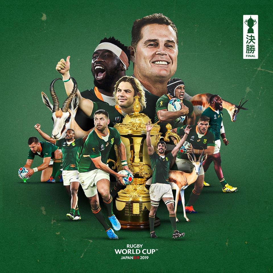 南アフリカの優勝を示すポスター