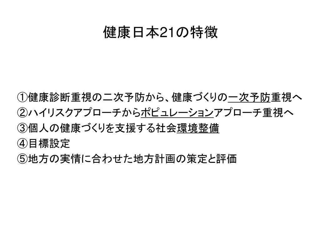 「健康日本21」の具体的政策を説明した図