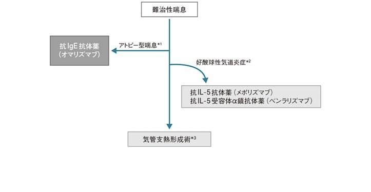 難治性喘息の治療について説明した図