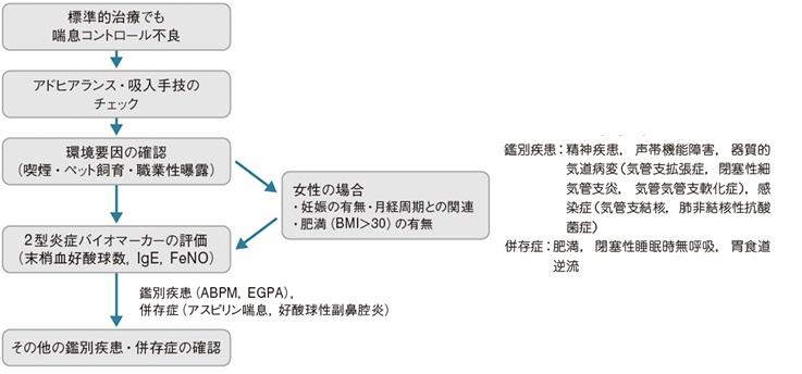難治性喘息の診断 鑑別について説明した図