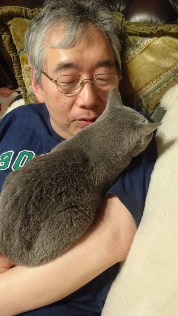 書き手の体の上で寝るデイジー