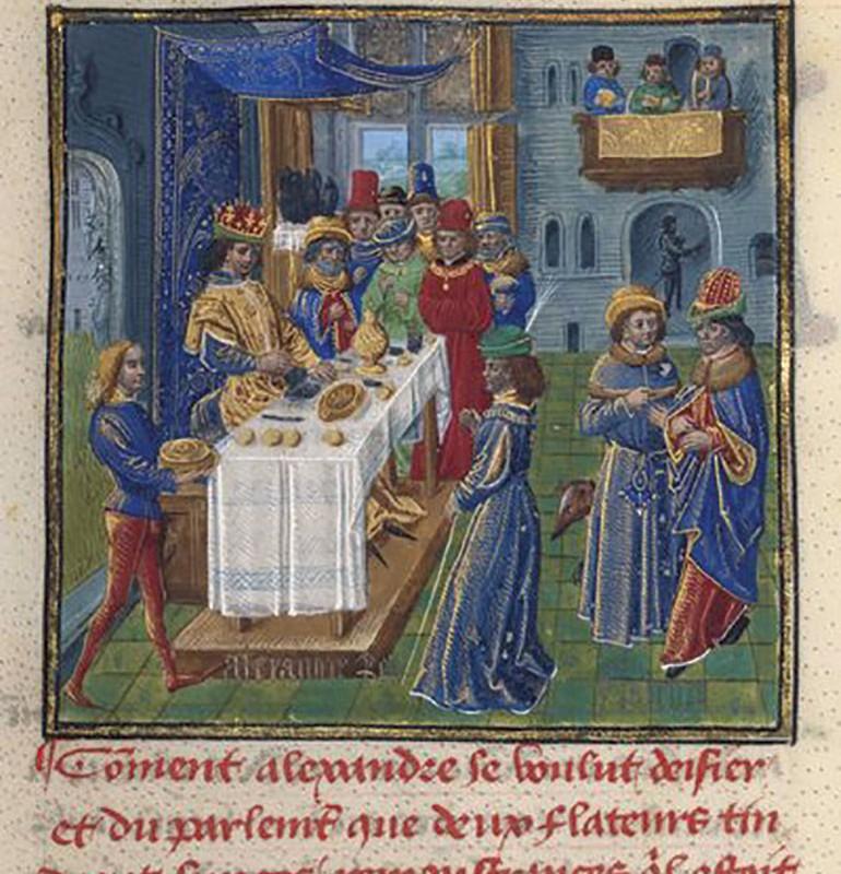 中世の時代のトリュフを扱う人々の様子を描いた絵画