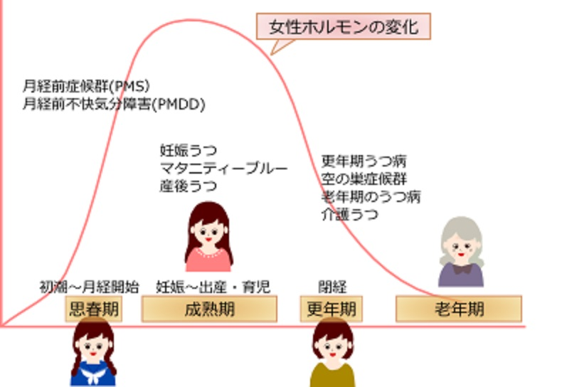 女性ホルモンの変化とうつ病の発症との関連を示す図