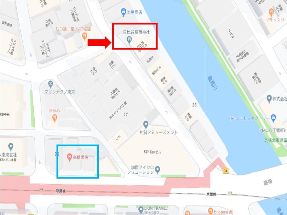 日比谷稲荷神社の場所を示す地図