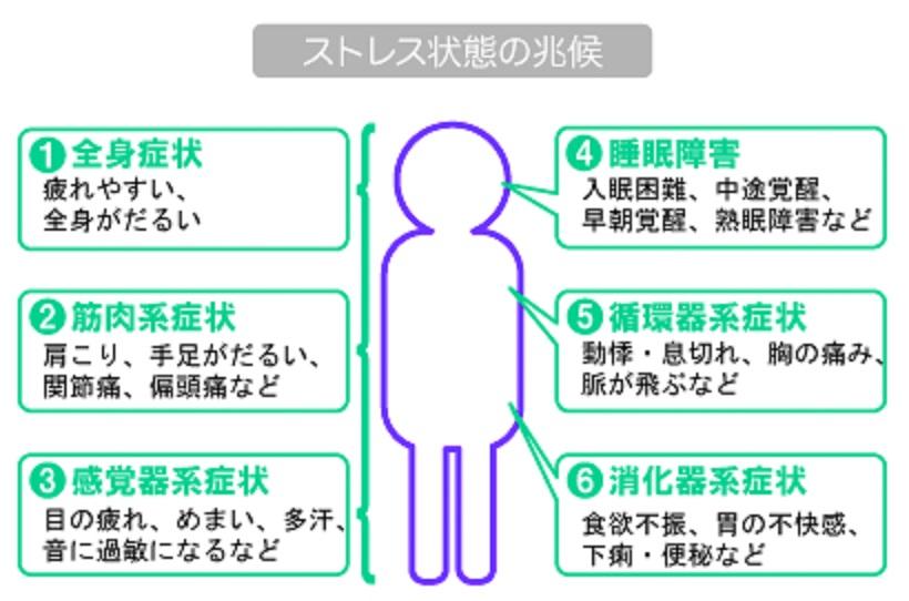 ストレス障害でみられる身体症状をまとめた図表
