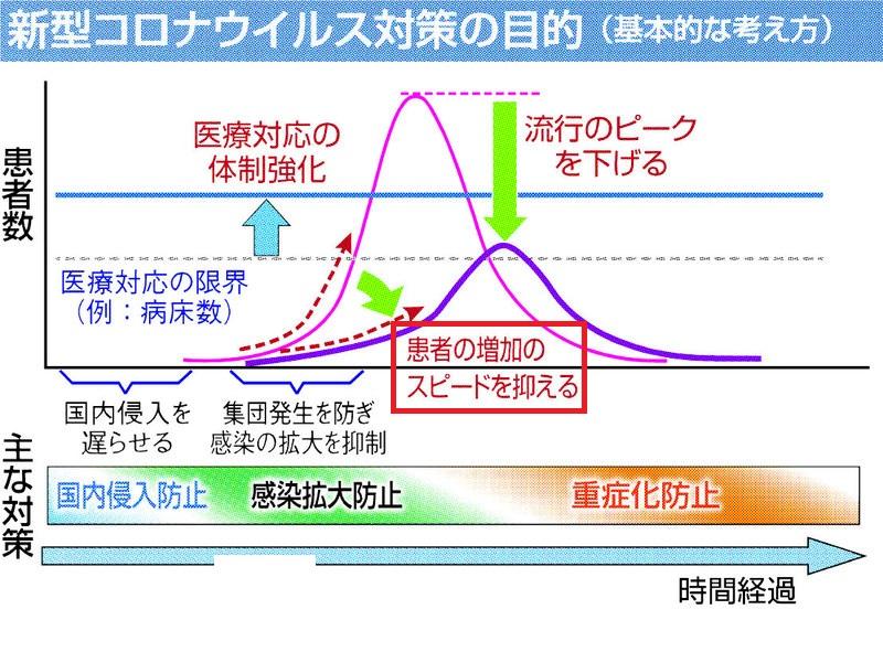 自粛により患者さんの増加スピードを抑えられることを示す図