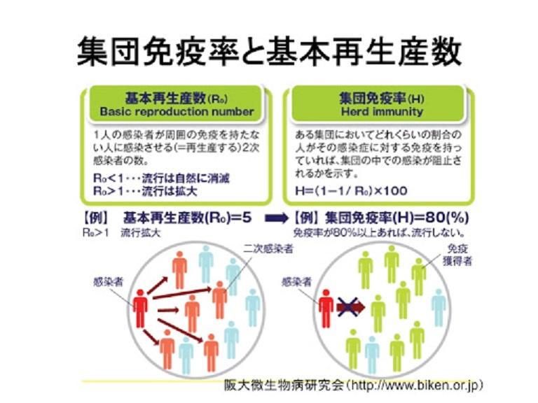 集団免疫レベルと基本再生産数の関係を示す式