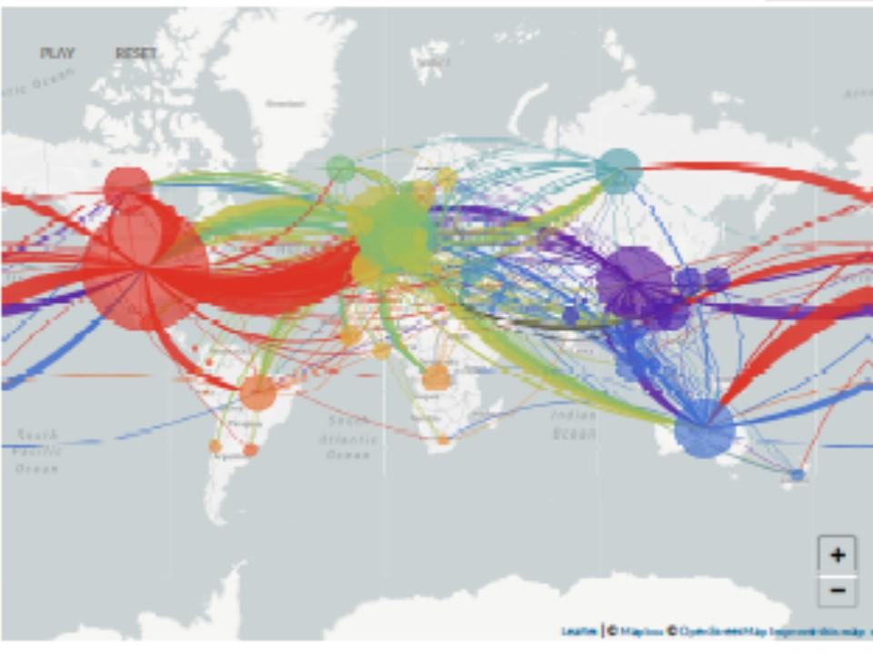 世界中での行き来を示す地図