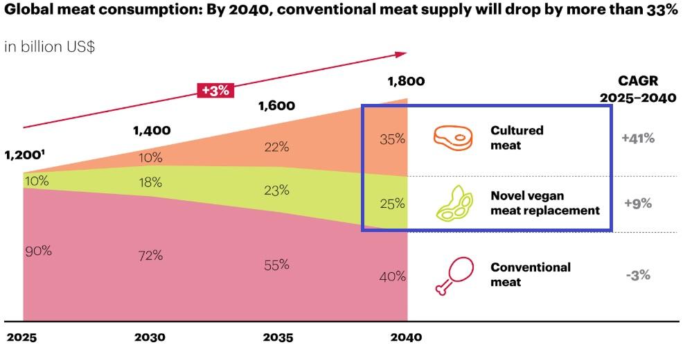 将来の代替肉の占有率を示すグラフ