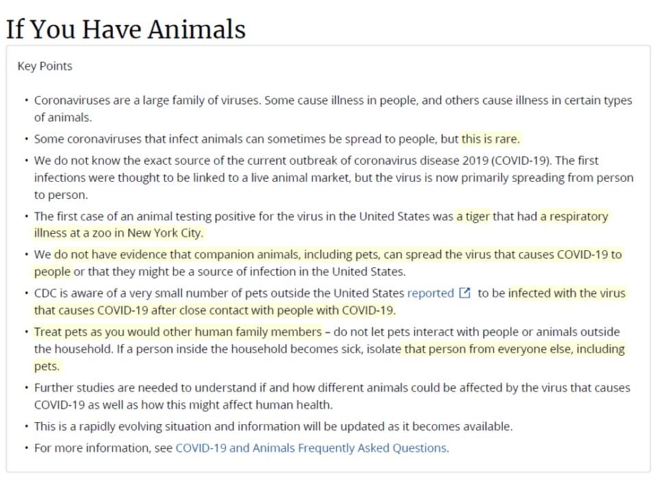 CDCのHPに載っているペットのコロナ感染に関する注意