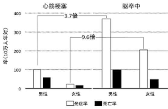 日本では脳卒中の頻度が高いことを示すグラフ
