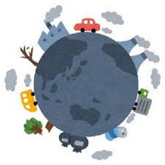 環境破壊 グローバル経済の問題点を描いたイラスト