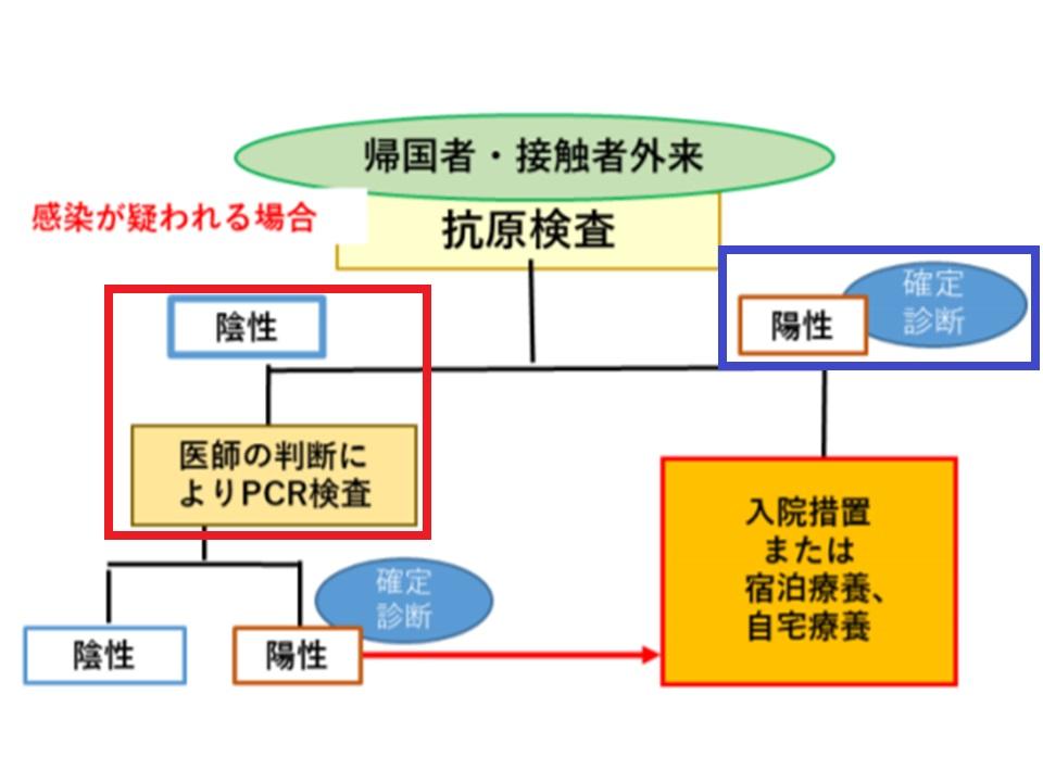 抗原検査で陰性の場合の対処法を示す図