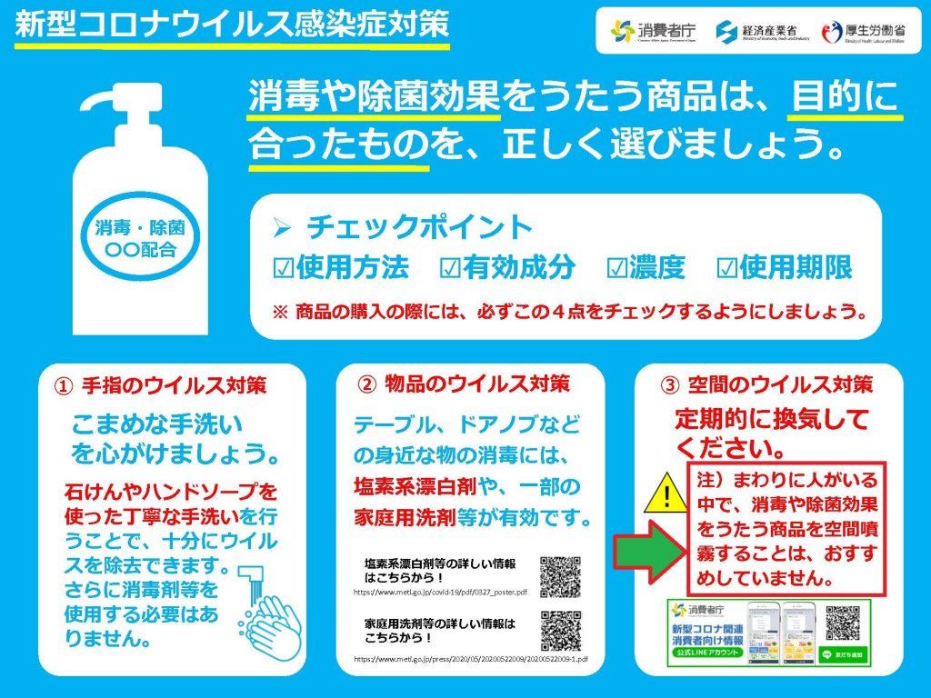 次亜塩素酸ナトリウムを含む消毒薬の噴霧の危険性を警鐘するポスター