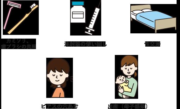 性交 血液による感染を示す図