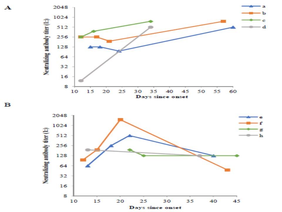 新型コロナウイルスで半数の症例でIgG抗体のが減少することを示すグラフ