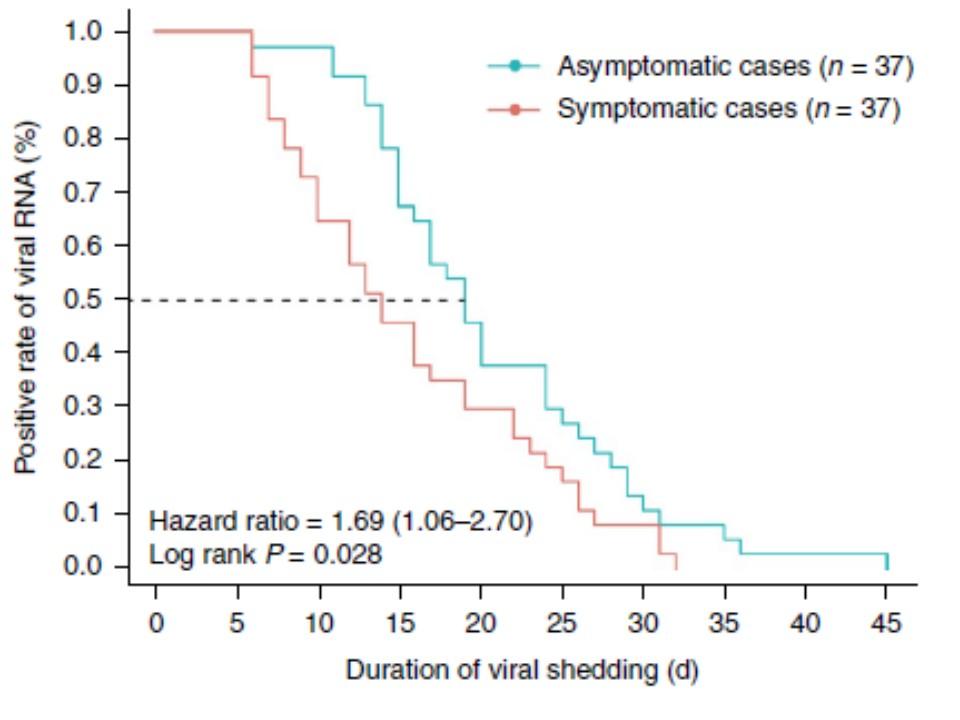 無症候性患者さんではウイルスが消失するまでの時間が長いことを示すグラフ