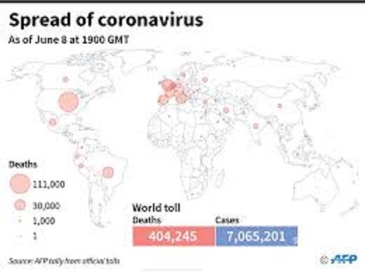 世界各地のコロナによる死亡者数を示した世界地図