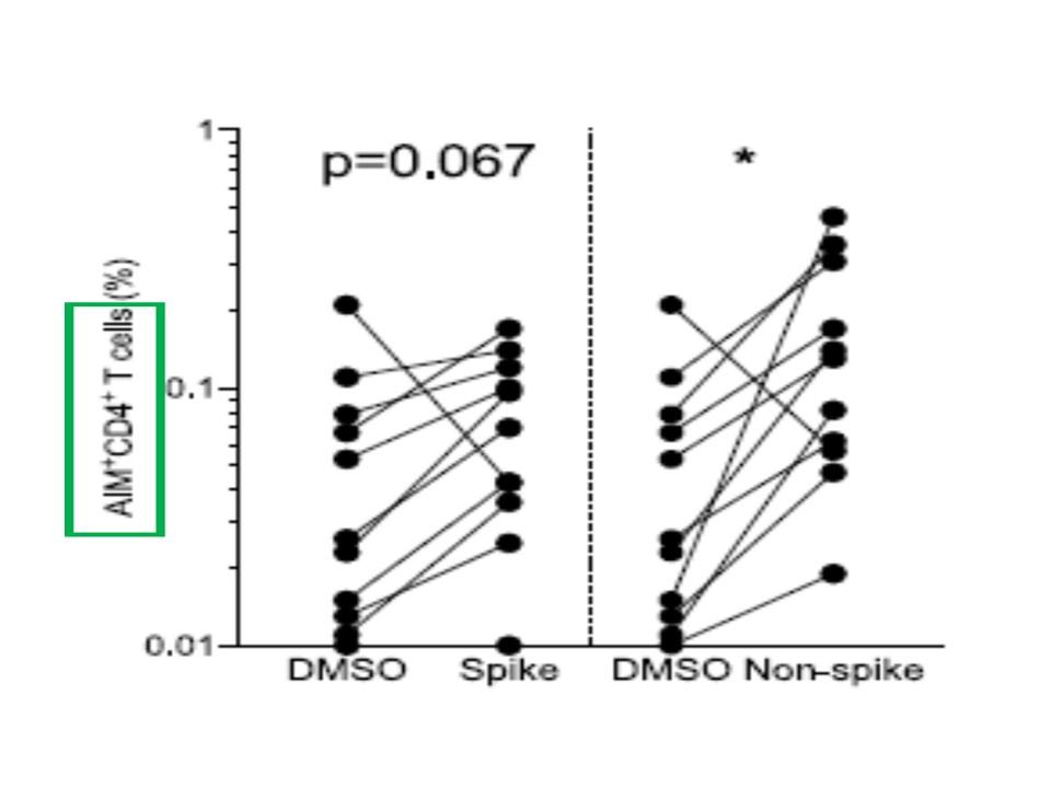数年前に普通の風邪コロナウイルスに感染したことがあり新型コロナウイルスには感染していない人では新型コロナウイルスを認識するCD4+ CD8+Tリンパ球を有している場合があることを示すグラフ