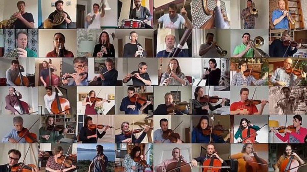 ネットでコミュニュケーションするオーケストラのミュージシャンたち