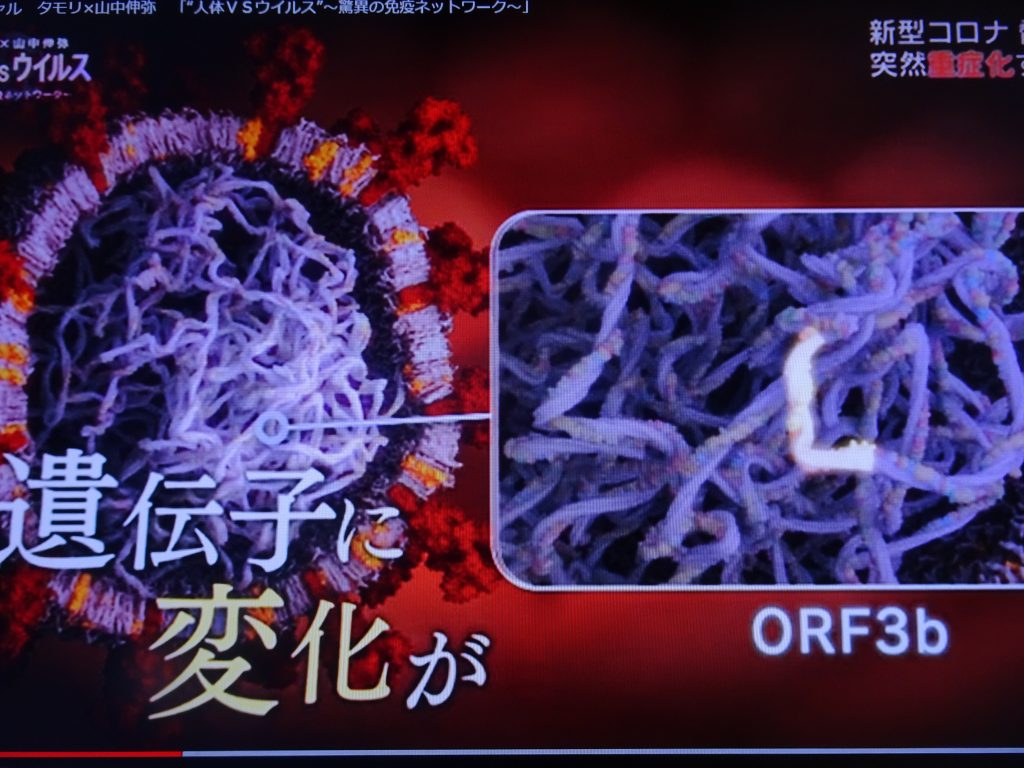 ORF3bに変異がある新型コロナウイルスのイラスト