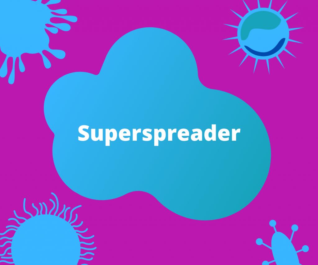 スーパースプレッダーの生物学的な性質について問うイラスト