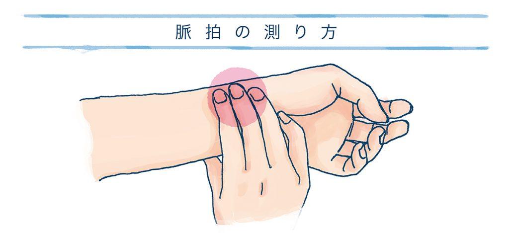 脈拍のチェックの仕方を説明した図
