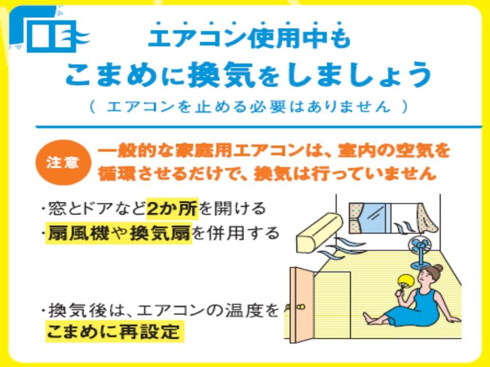 熱中症対策と新型コロナウイルス対策を両立することをアピールするポスター