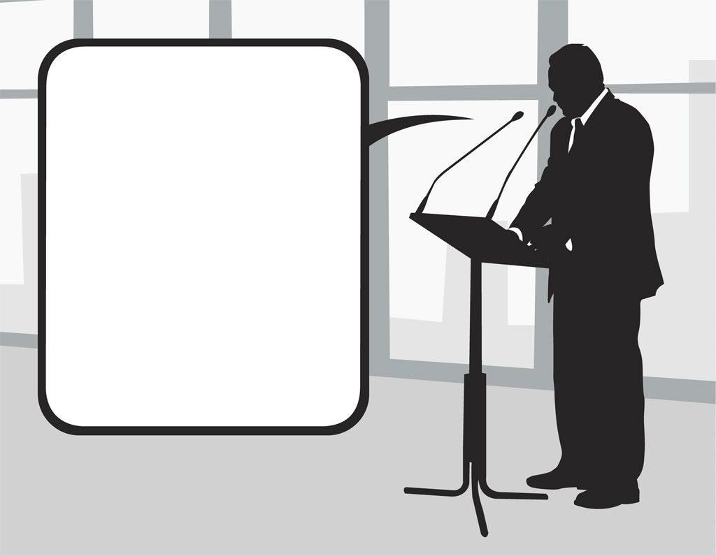 演説する政治家