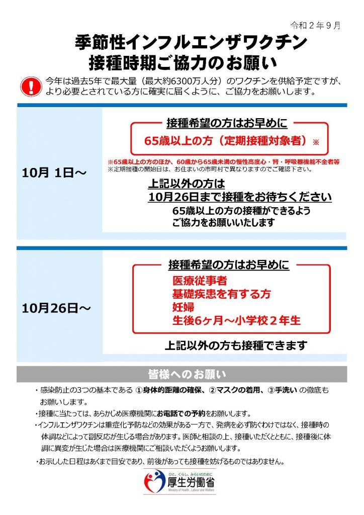 10月よりインフルエンザワクチンの接種を開始します