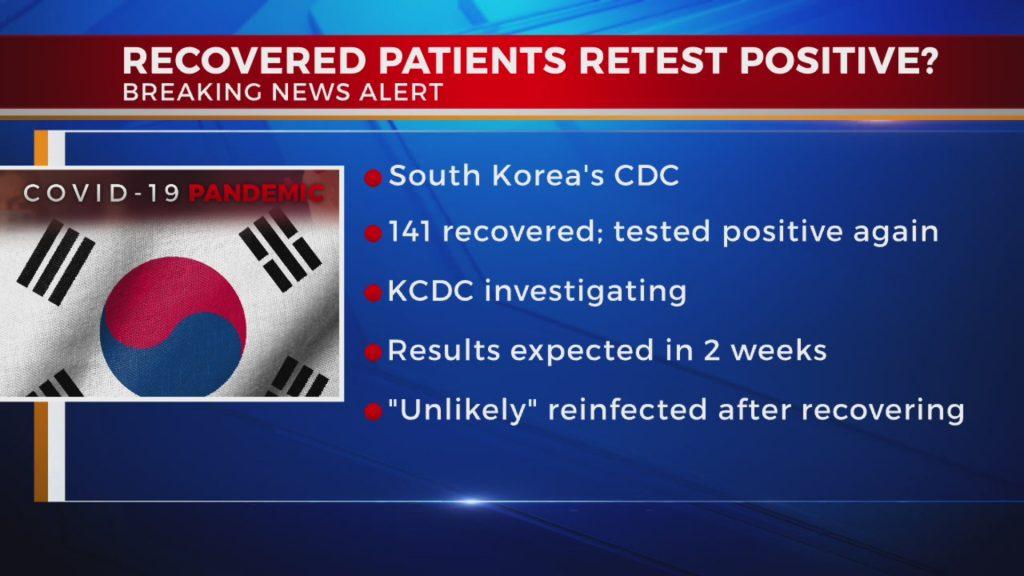 韓国での再陽性化例を報道するニュース